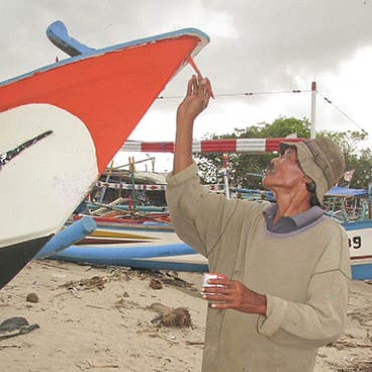 Chase | Bali -  I 2219 Painting his fishing boat