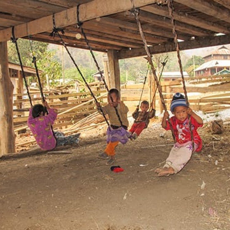 Chase | Burma - D 4666 Palaung children under home swinging